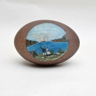 Folk-art, Australian-Colonial, Painted-Emu-Egg,farewell-gift Australian-colonial-art, Folk-art, Australian-Colonial, Painted-Emu-Egg,