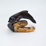 Carved-Black-Coral, Carved-Dolphin, Pacific-Souvenir,