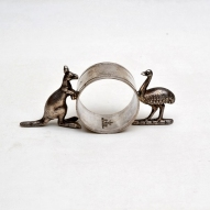Kangaroo-&-Emu-Serviette-Ring, Australiana, Australian-silver, Australian-EPNS,